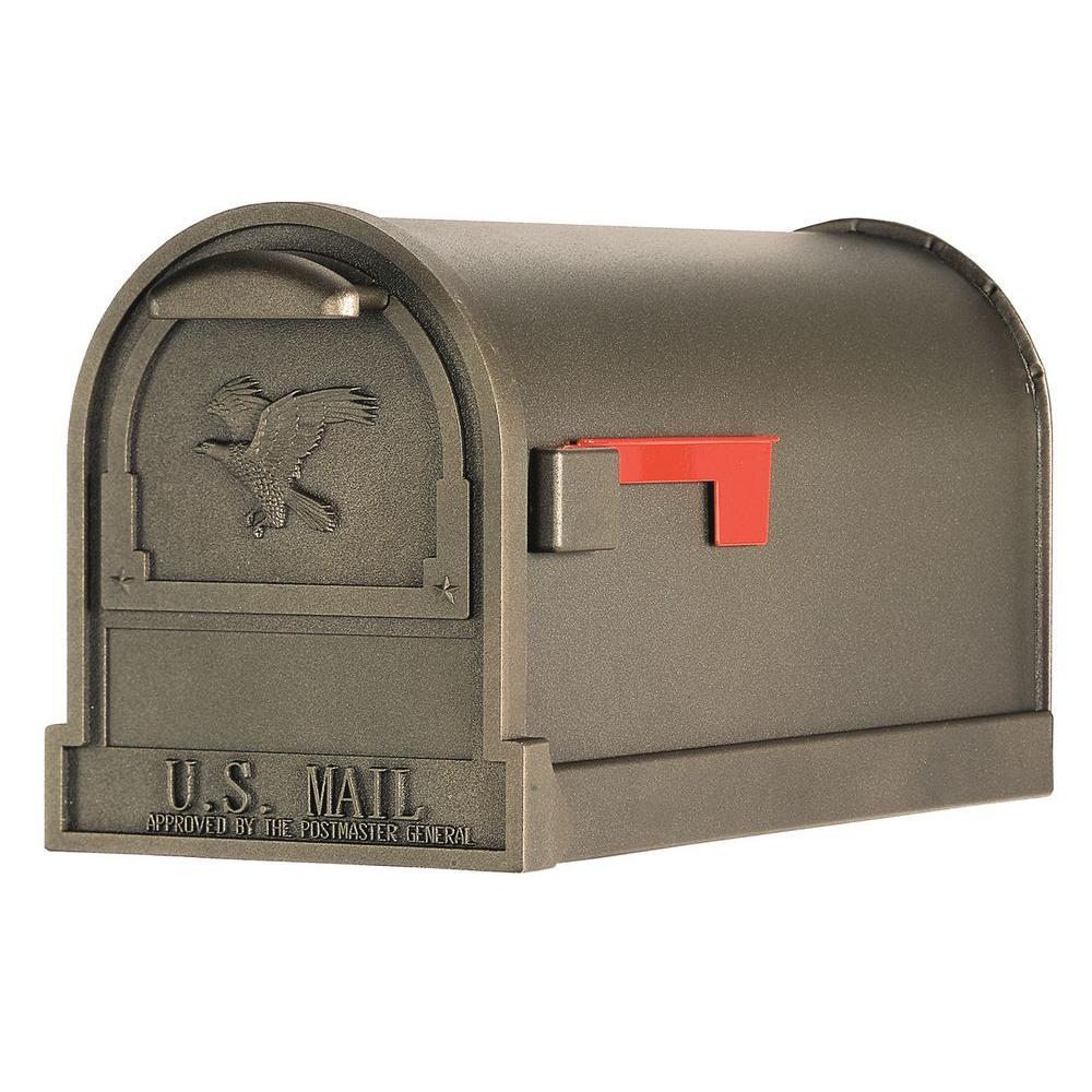 Gibraltar Mailboxes Arlington Premium Steel Post-Mount Mailbox, Textured Bronze