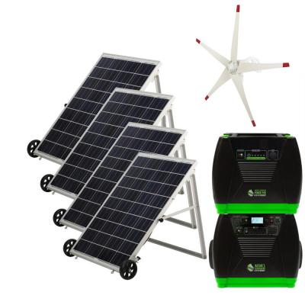 3600-Watt Solar Powered Portable Generator w/ 4 Solar Panels, Power Pod and Wind Turbine Kit