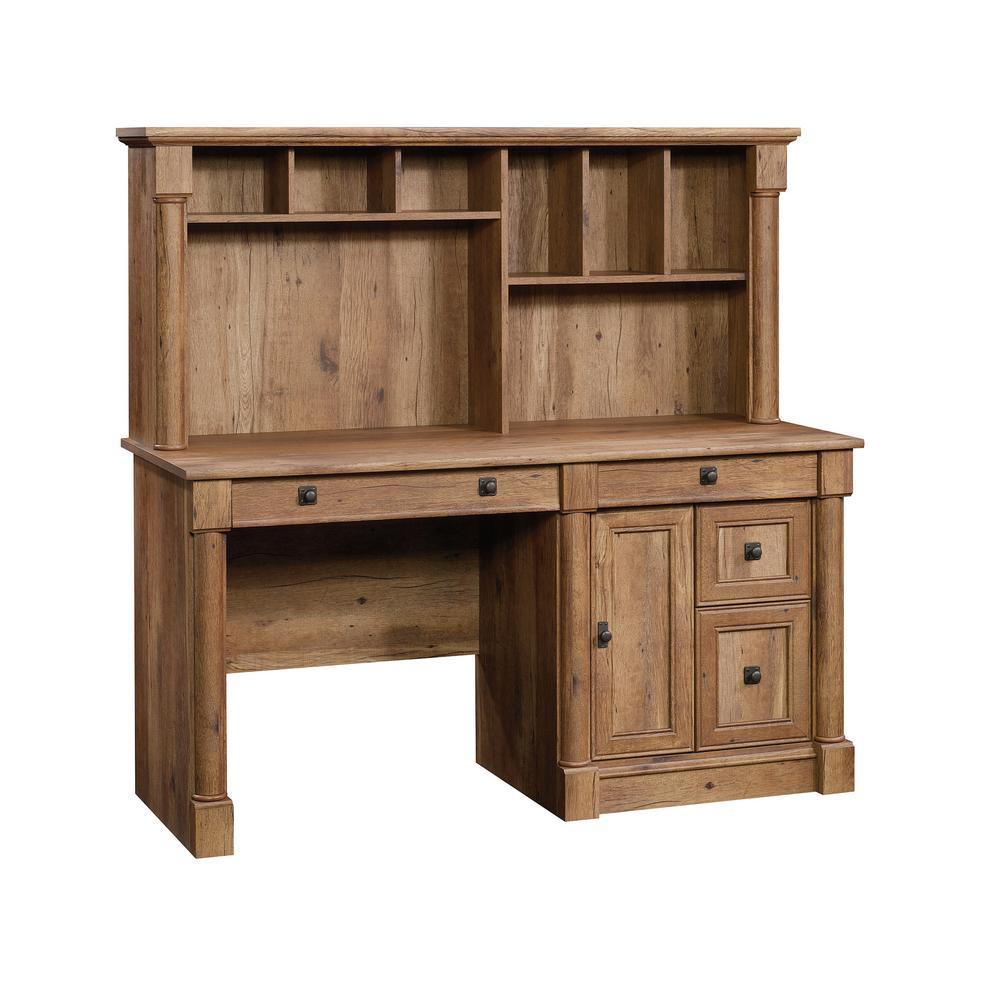 SAUDER Palladia Vintage Oak Computer Desk with Hutch 420713
