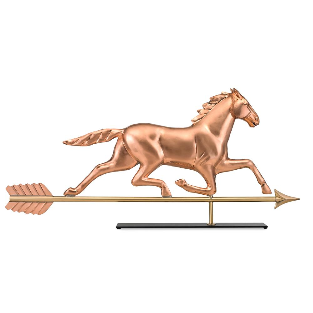Large Horse Pure Copper Weathervane Sculpture On Mantel Stand: Home Decor