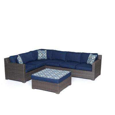 Metropolitan Grey 5-Piece Aluminum All-Weather Wicker Patio Seating Set with Protective Cover and Navy Blue Cushions
