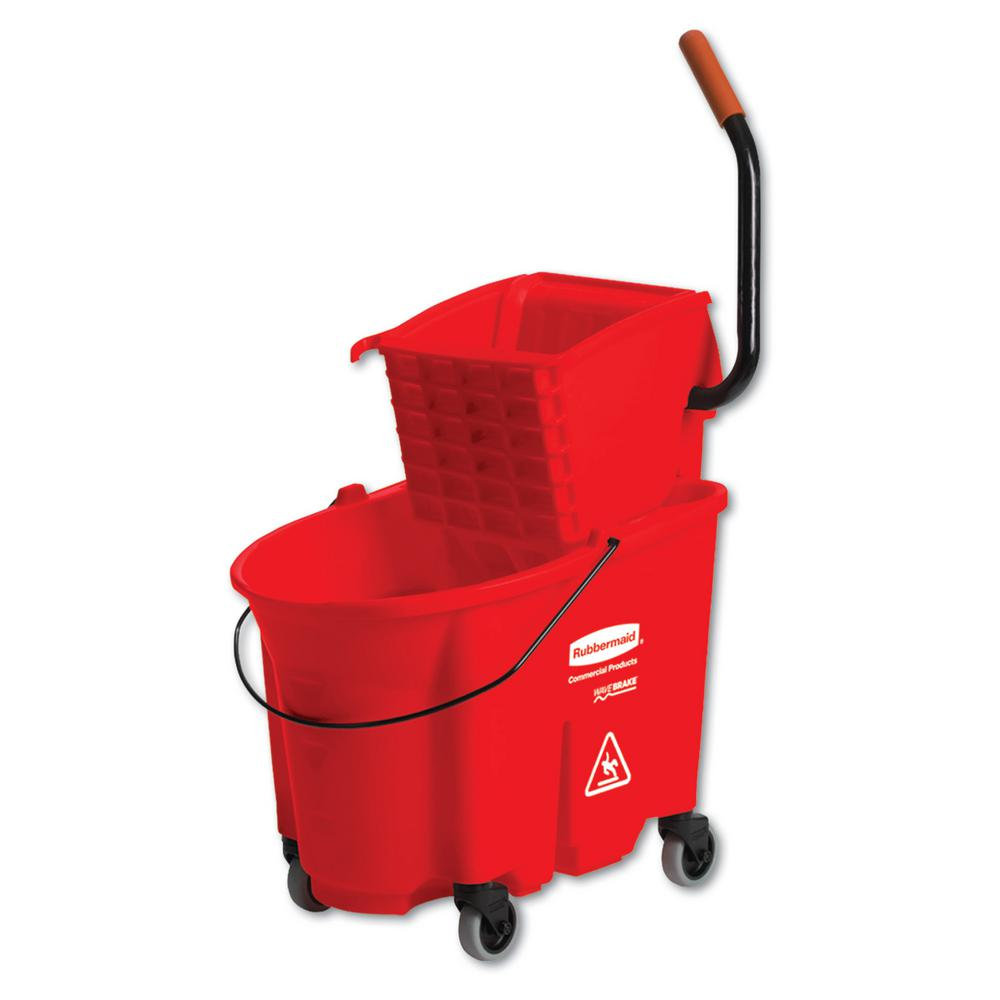 Rubbermaid Wave Brake 35 Qt Mop Bucket And Side Press Red
