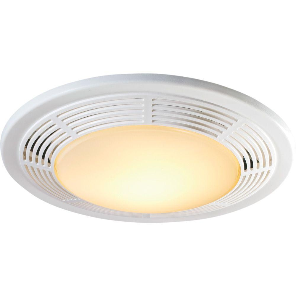 Decorative white 100 cfm ceiling exhaust fan with light for Bathroom ceiling fans