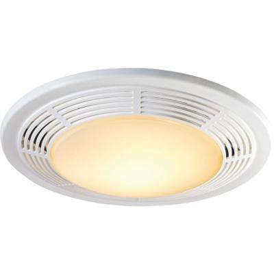 Decorative White 100 CFM Bathroom Exhaust Fan with Light and Night Light