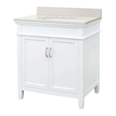 Ashburn 31 in. W x 22 in. D Vanity Cabinet in White with Engineered Marble Top in Winter White with White Sink