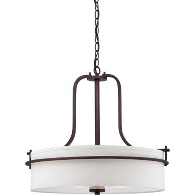4-Light Venetian Bronze Pendant with White Linen Shade