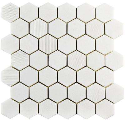 Structure Due Hex Thassos White 11-3/4 in. x 12 in. x 8 mm Natural Marble Mosaic Tile