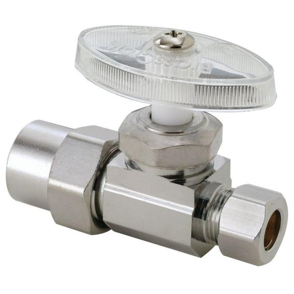 1/2 in. CPVC Inlet x 3/8 in. Compression Outlet Chrome-Plated Brass Multi-Turn Straight Valve (5-Pack)
