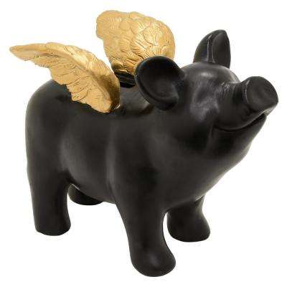 9 in. x 4.5 in. Flying Pig Money Bank in Black