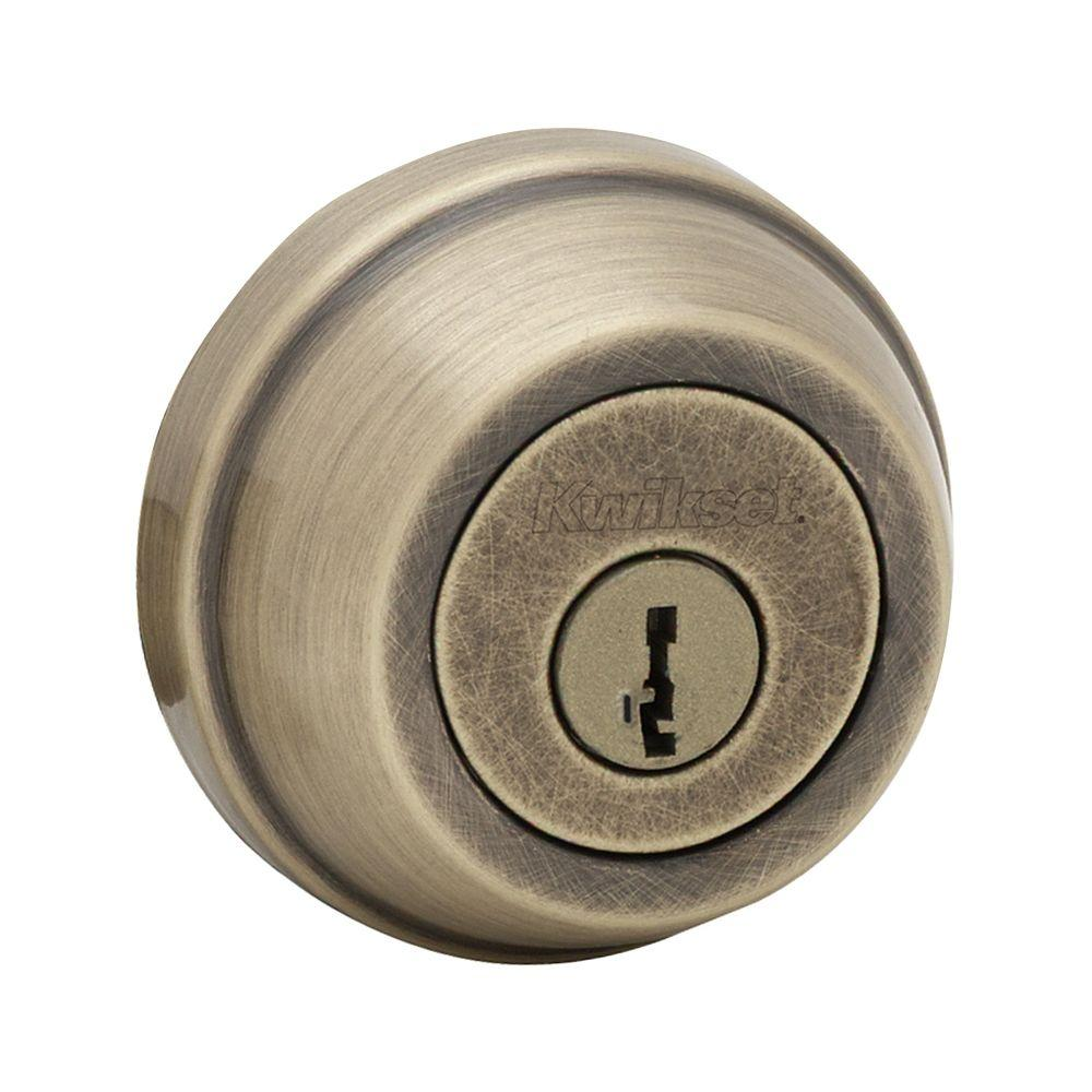 Kwikset 598 Series Antique Brass Single Cylinder Gatelatch Deadbolt  Featuring SmartKey Security