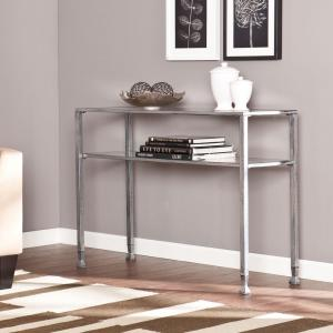 Southern Enterprises Silver And Black Distressed Glass Top Console Table HD864631    The Home Depot