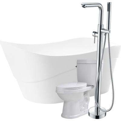Kahl 67 in. Acrylic Flatbottom Non-Whirlpool Bathtub in White with Sens Faucet and Talos 1.6 GPF Toilet