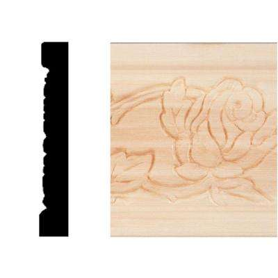 3/8 in. x 2-1/2 in. x 8 ft. Hardwood Emboss Wild Rose Casing/Chair Rail Moulding