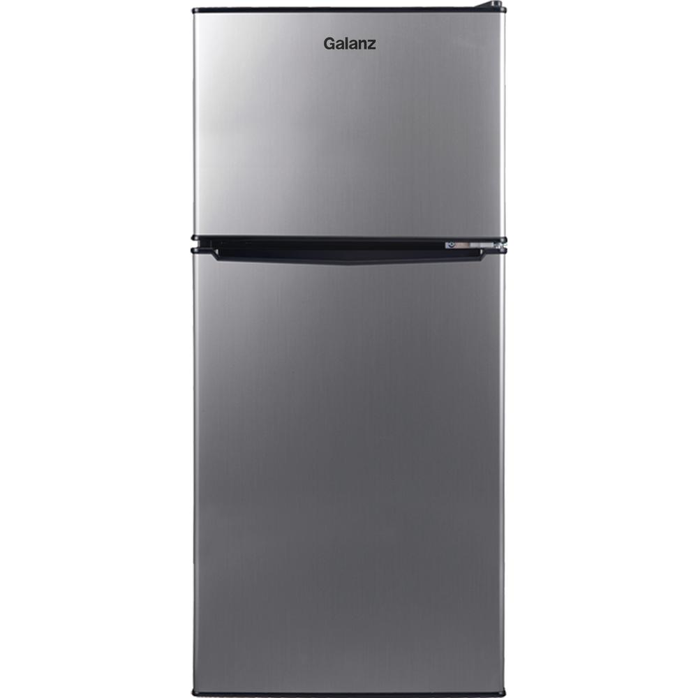 Galanz 7 6 Cu Ft Top Freezer Refrigerator With Dual Door In Stainless Steel Look Glr76ts1e The Home Depot