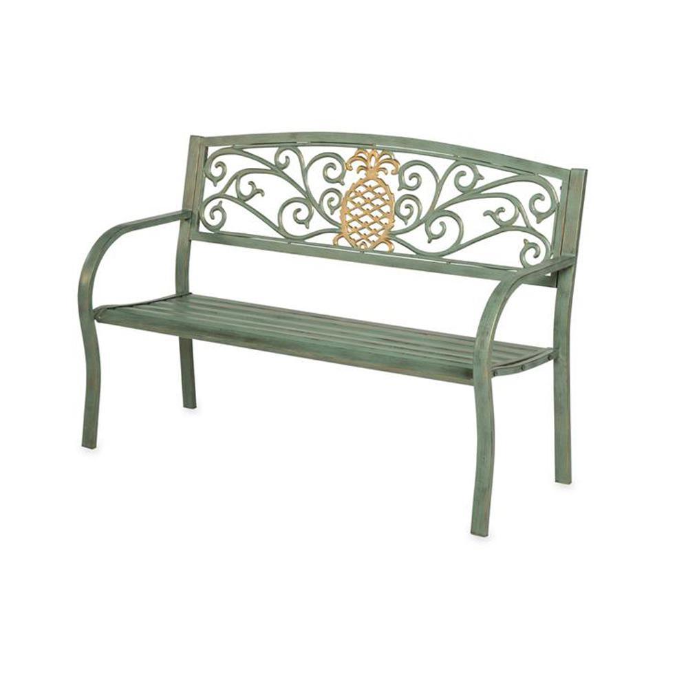 Cape Craftsman 50 In Pineapple Metal Outdoor Garden Bench 8mb065