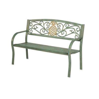 50 in. Pineapple Metal Outdoor Garden Bench