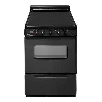 24 in. 2.97 cu. ft. Freestanding Smooth Top Electric Range in Black