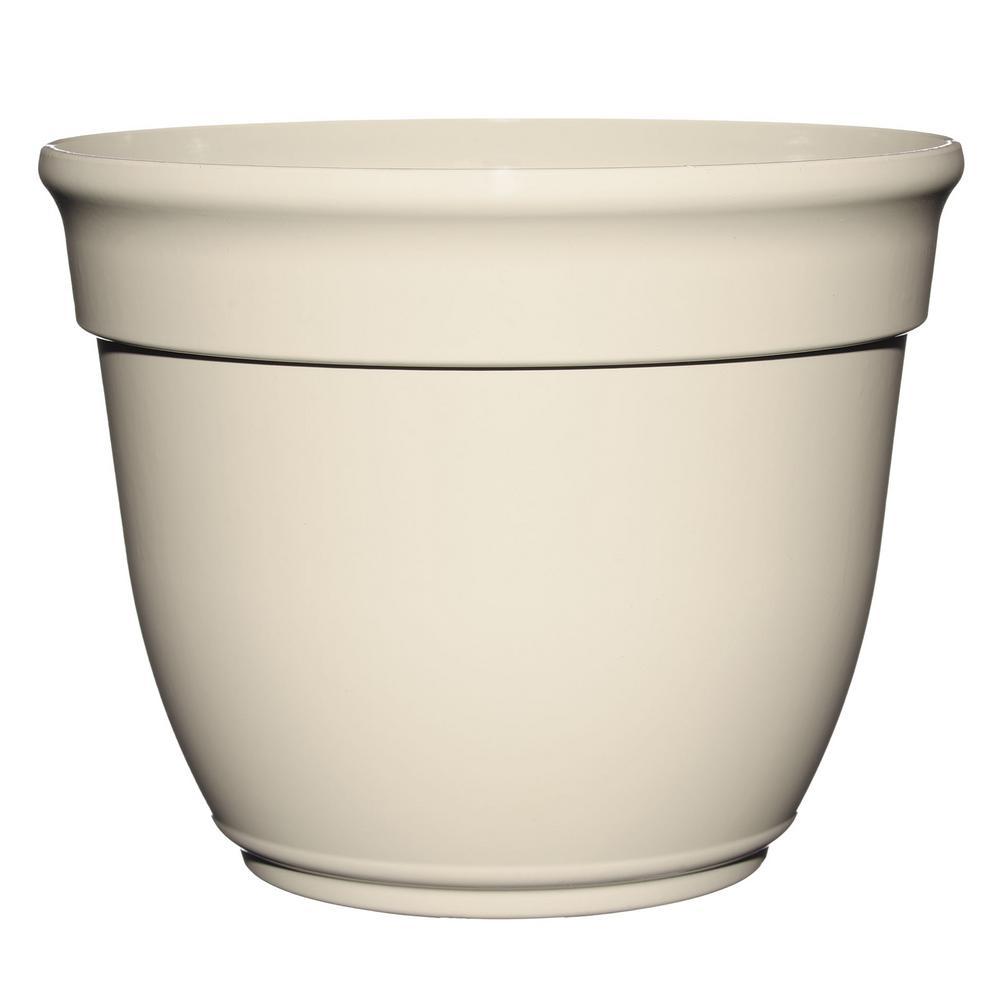 Bri 12 in. Lattice White Plastic Planter Fits 10 in. Drop-N-Bloom
