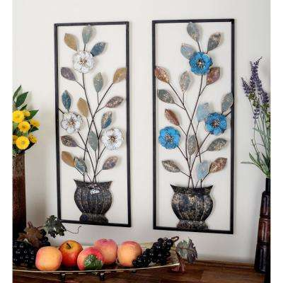 29 in. x 11 in. Multi-Colored Metal Flower and Leaf Wall Decors (2-Piece)
