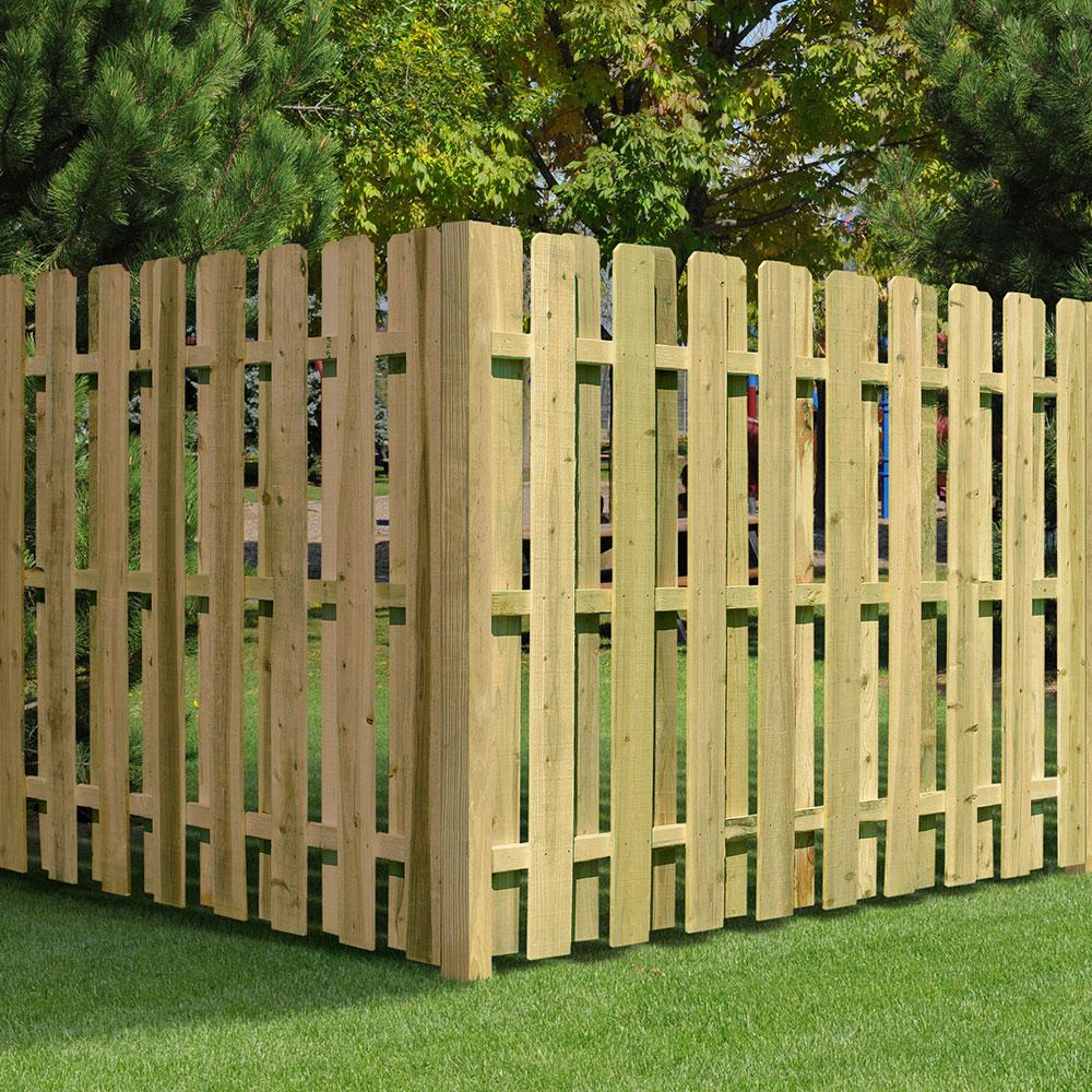 6 Ft H X 8 Ft W Pressure Treated Pine Shadowbox Fence Panel 118830 The Home Depot