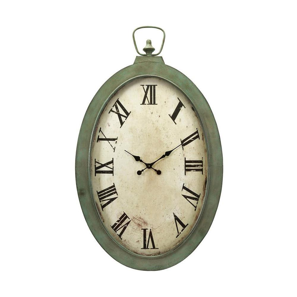 IMAX Noran White and Green Oversized Oval Wall Clock, Gre...