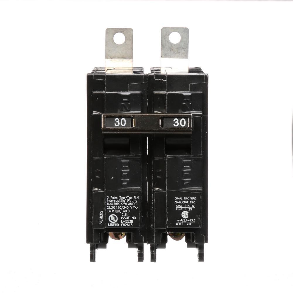 30 Amp 2-Pole Type BLH 22 kA Circuit Breaker