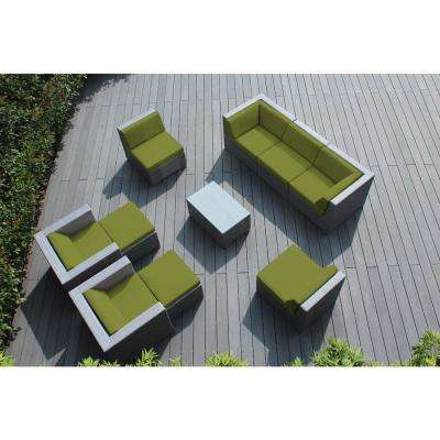 Gray 10-Piece Wicker Patio Seating Set with Spuncrylic Peridot Cushions