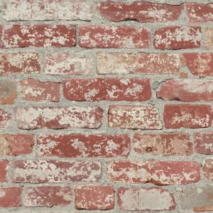 RoomMates 28.18 sq. ft. Stuccoed Dark Red Brick Peel and Stick Wallpaper by RoomMates