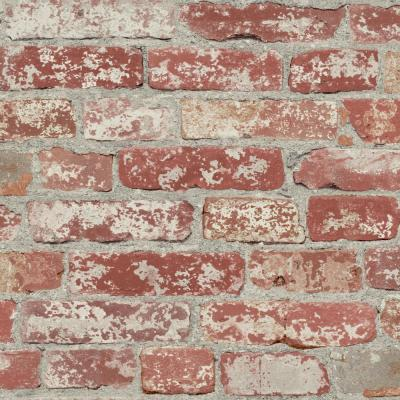 28.18 sq. ft. Stuccoed Dark Red Brick Peel and Stick Wallpaper