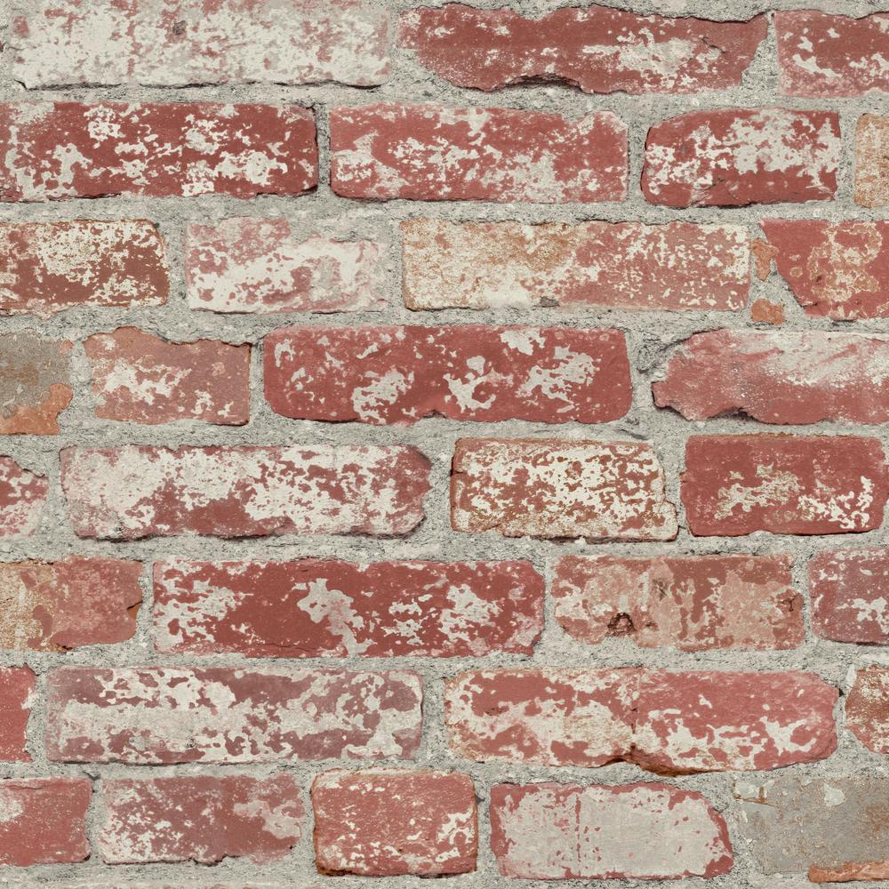 28.18 sq. ft. Stuccoed Dark Red Brick Peel and Stick Wallpaper