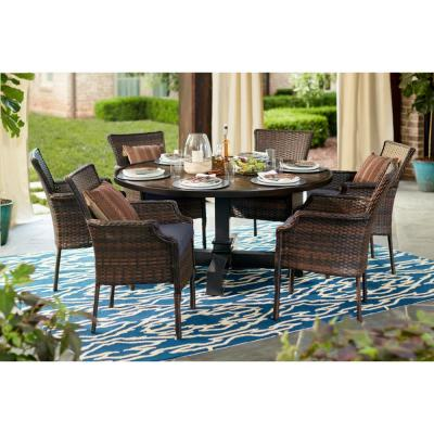 Grayson 7-Piece Brown Wicker Outdoor Patio Dining Set with CushionGuard Sky Blue Cushions