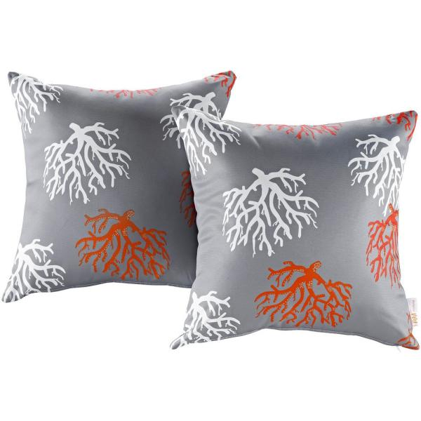 Patio Square Outdoor Throw Pillow Set in Orchard (2-Piece)