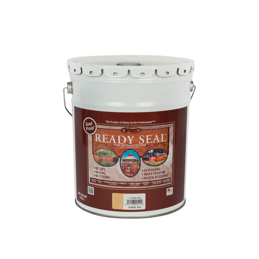 READY SEAL 5 gal. Golden Pine Exterior Wood Stain and Sealer-510 ...