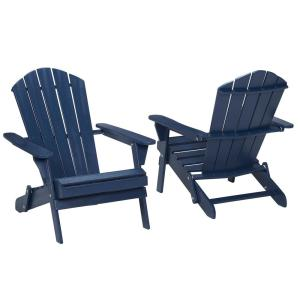 Midnight Folding Outdoor Adirondack Chair (2-Pack) by