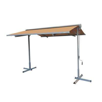 14 ft. FS Series Free Standing Semi-Cassette Manual Retractable Patio Awning in Canvas Umber (10 ft. Projection)