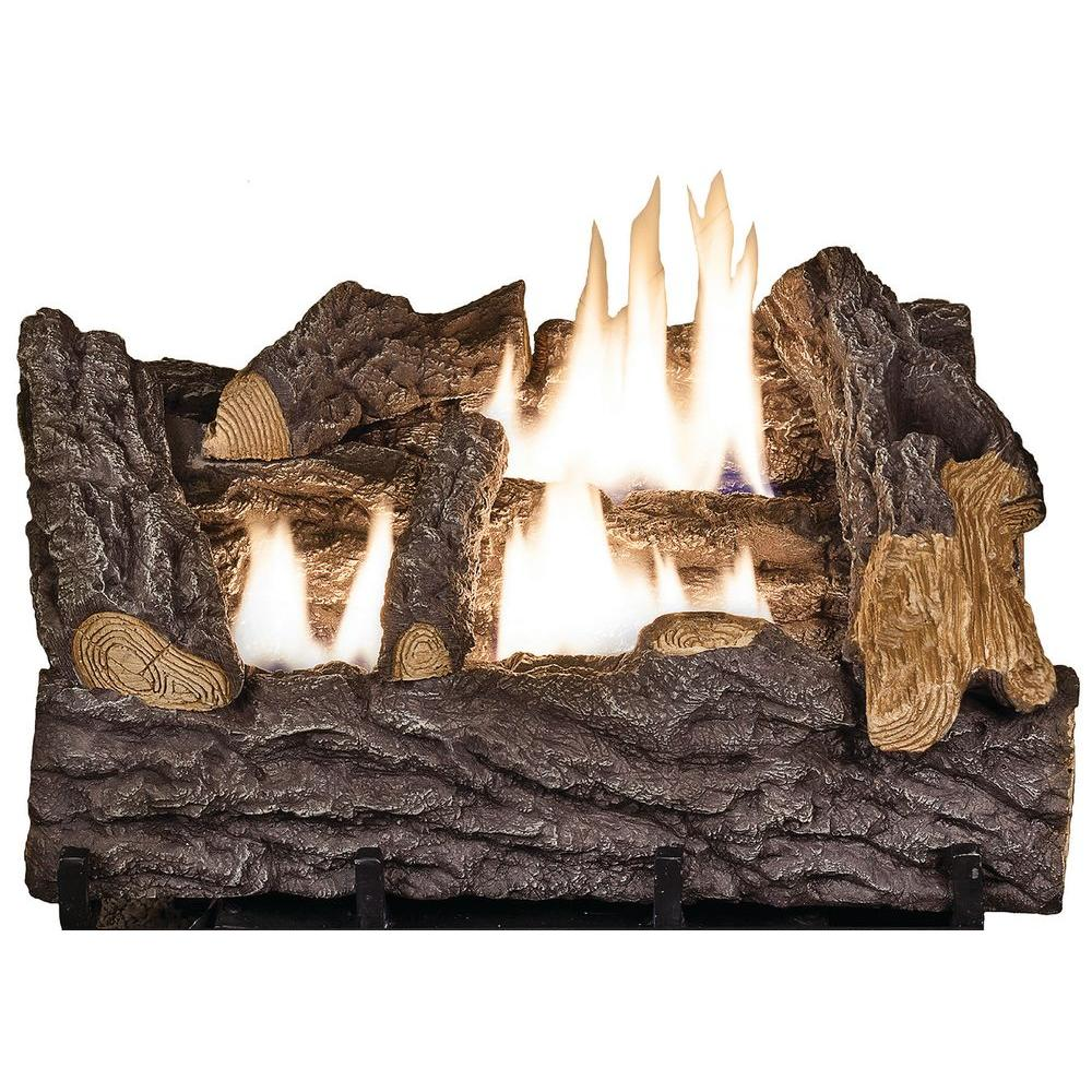 Provide a realistic burning oak effect to your home by using this Emberglow Timber Creek Vent Free Dual Fuel Gas Log Set with Manual Control.