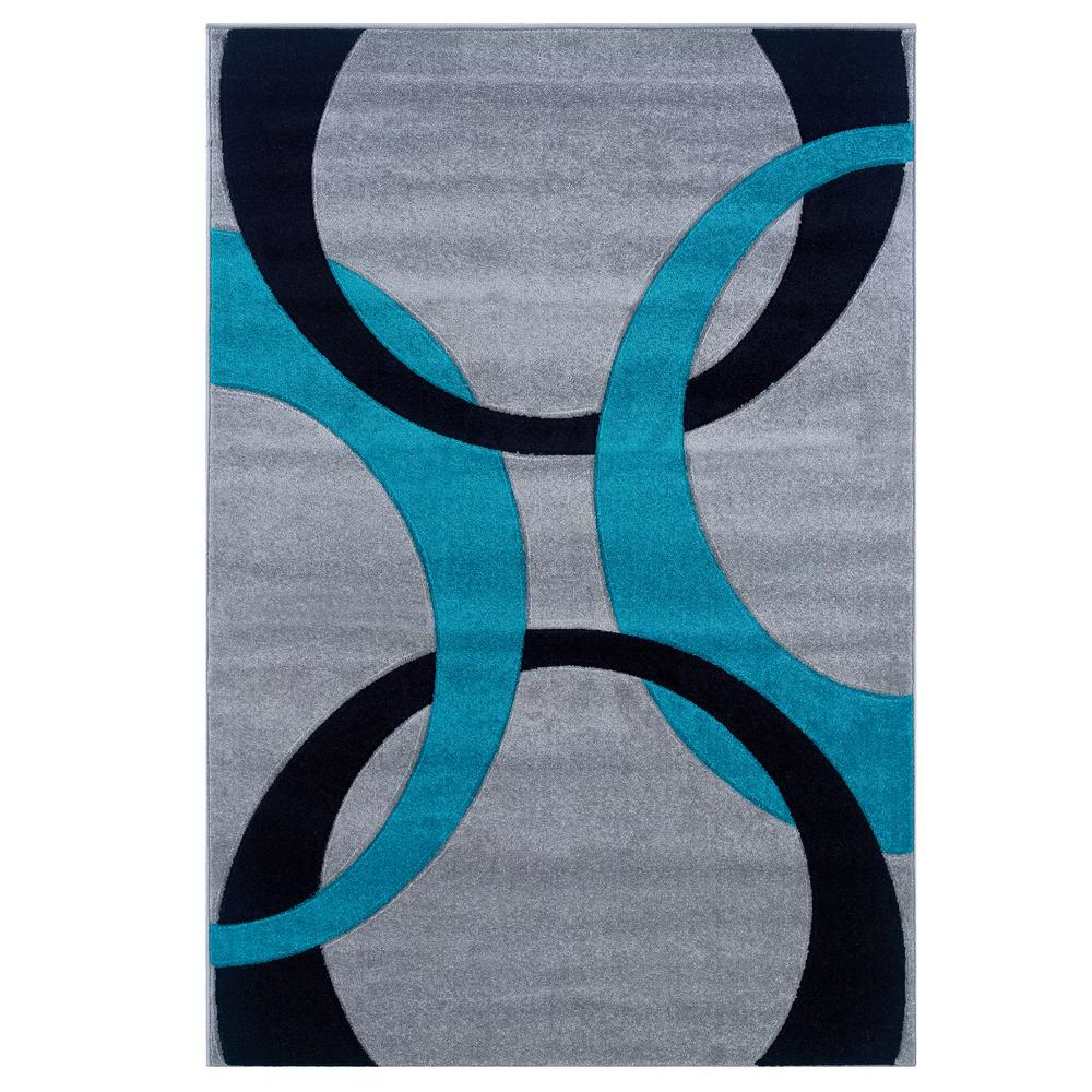 Linon Home Decor Corfu Collection Grey And Turquoise 8 Ft