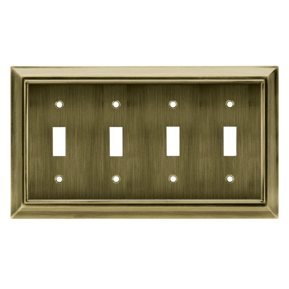 Architectural Decorative Quadruple Switch Plate, Antique Brass
