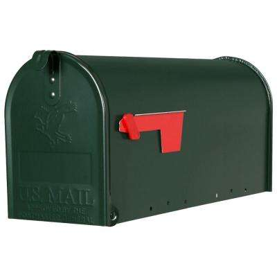 Elite Medium Size Galvanized Steel Post-Mount Mailbox in Green