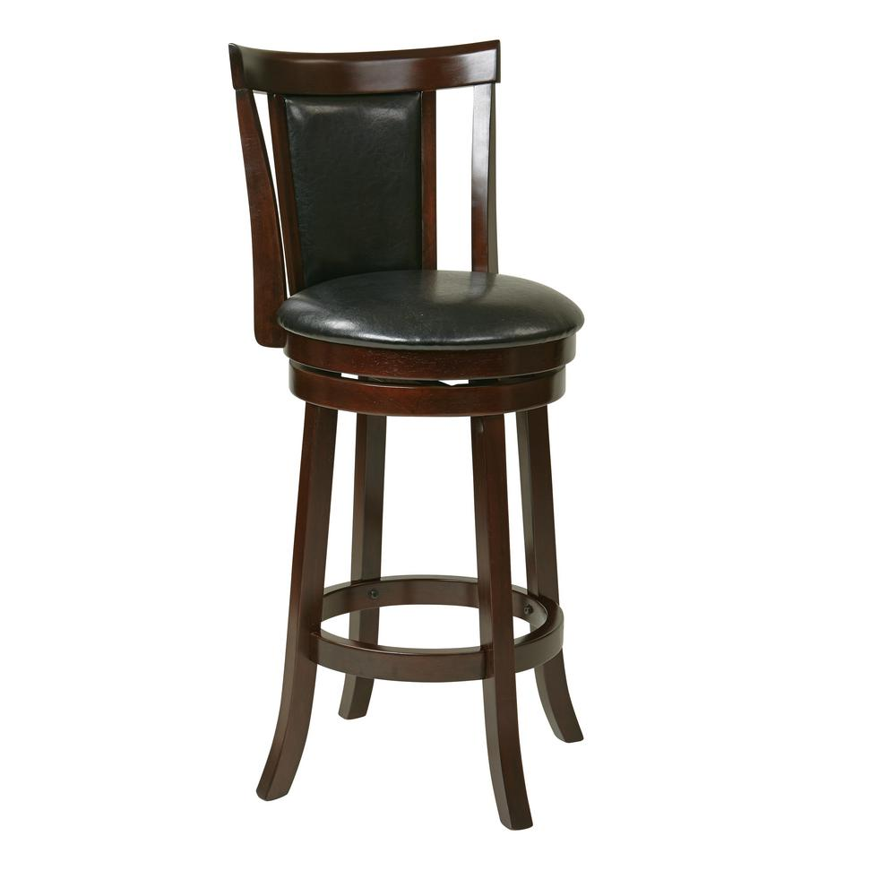 OSPdesigns Metro 30 In. Swivel Barstool In Faux Leather
