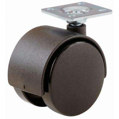 2 in. Plastic Twin Wheel Swivel Plate Casters with 75 lb. Load Rating (2 per Pack)