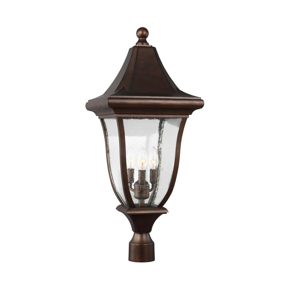 Oakmont 3-Light Outdoor Patina Bronze Post Light