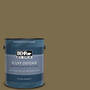 Behr Ultra 1 Gal Ppu8 01 Olive Extra Durable Satin Enamel Interior Paint Primer 775301 The Home Depot