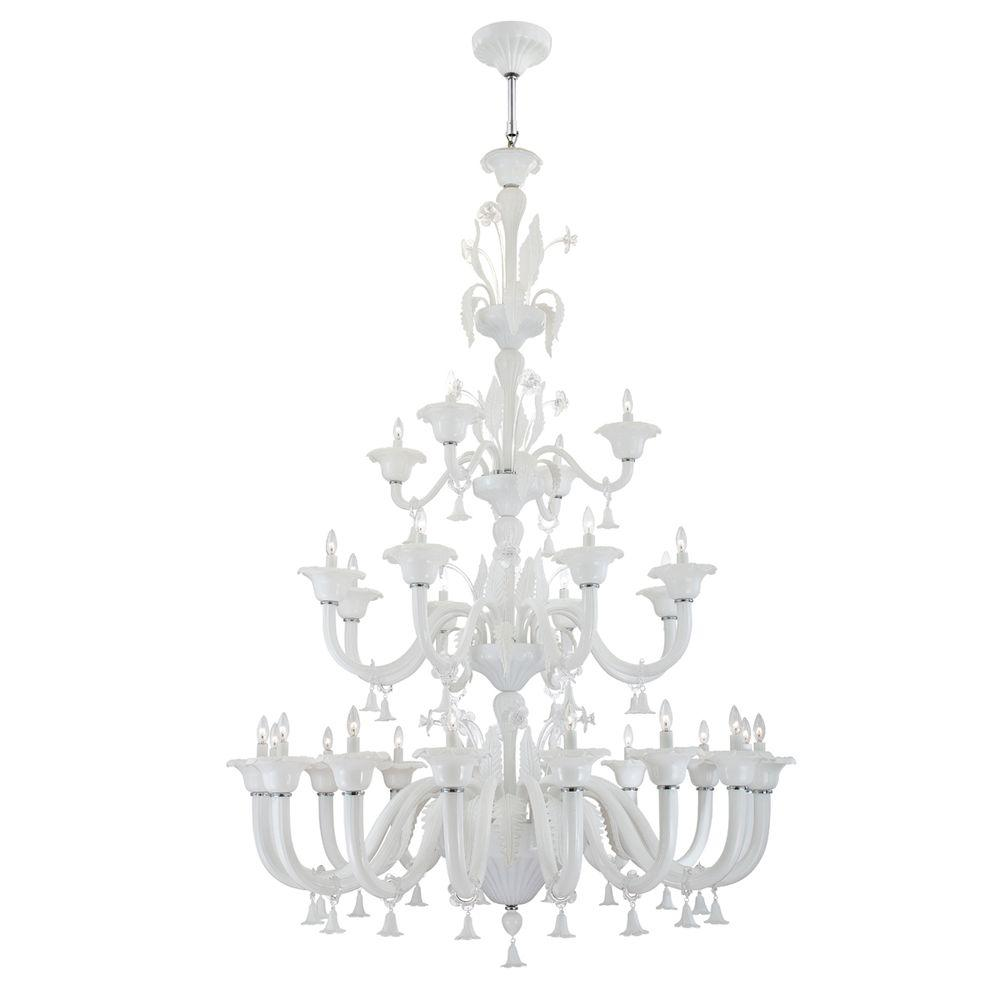 Eurofase Veronica Collection 28-Light Milky White/Clear Chandelier-DISCONTINUED