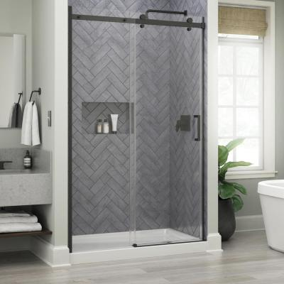 Commix 48 in. x 76 in. Frameless Sliding Shower Door in Matte Black with 5/16 in. (8 mm) Clear Glass