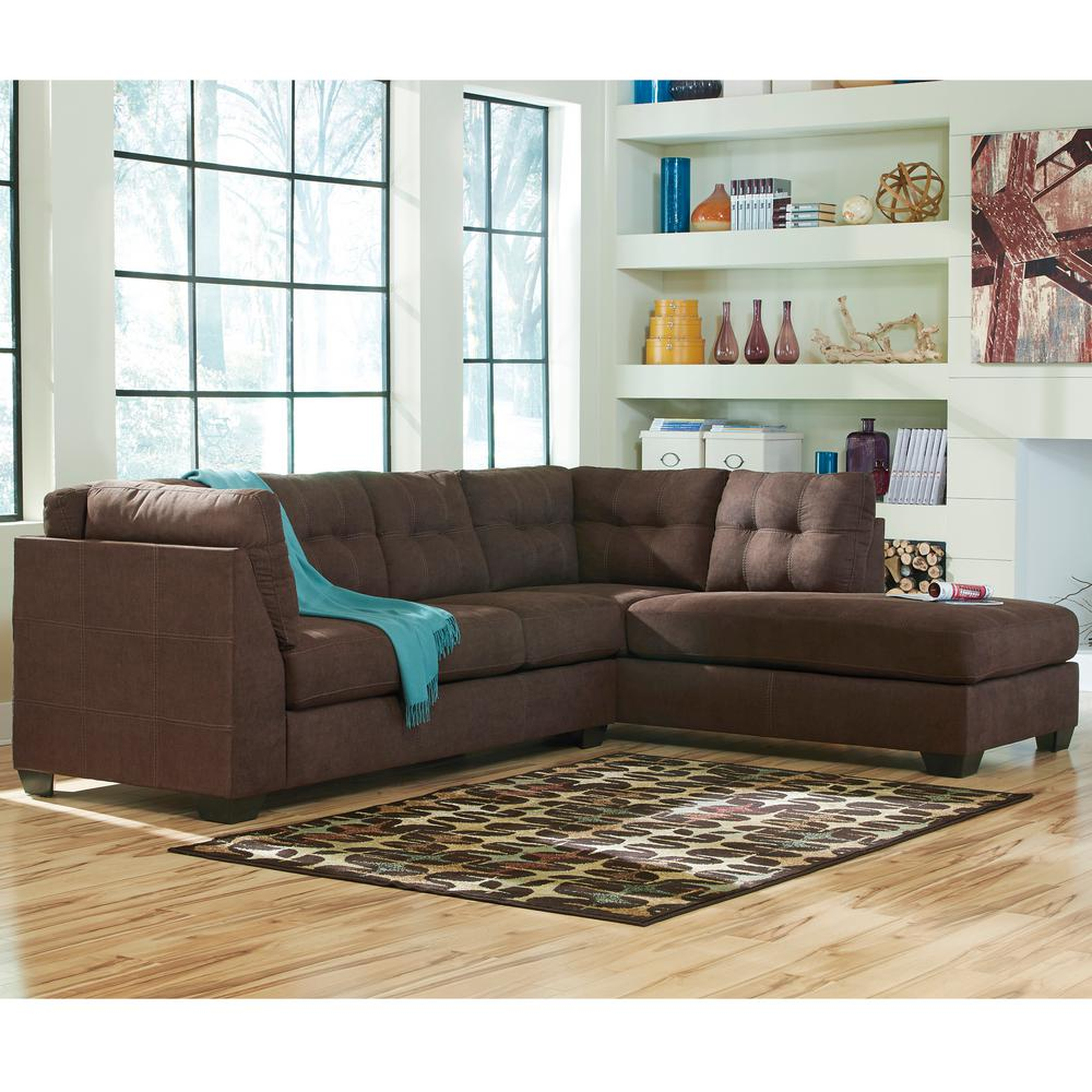 Flash Furniture Benchcraft Maier Walnut Microfiber Sectional with Right Side Facing Chaise : benchcraft sectional - Sectionals, Sofas & Couches