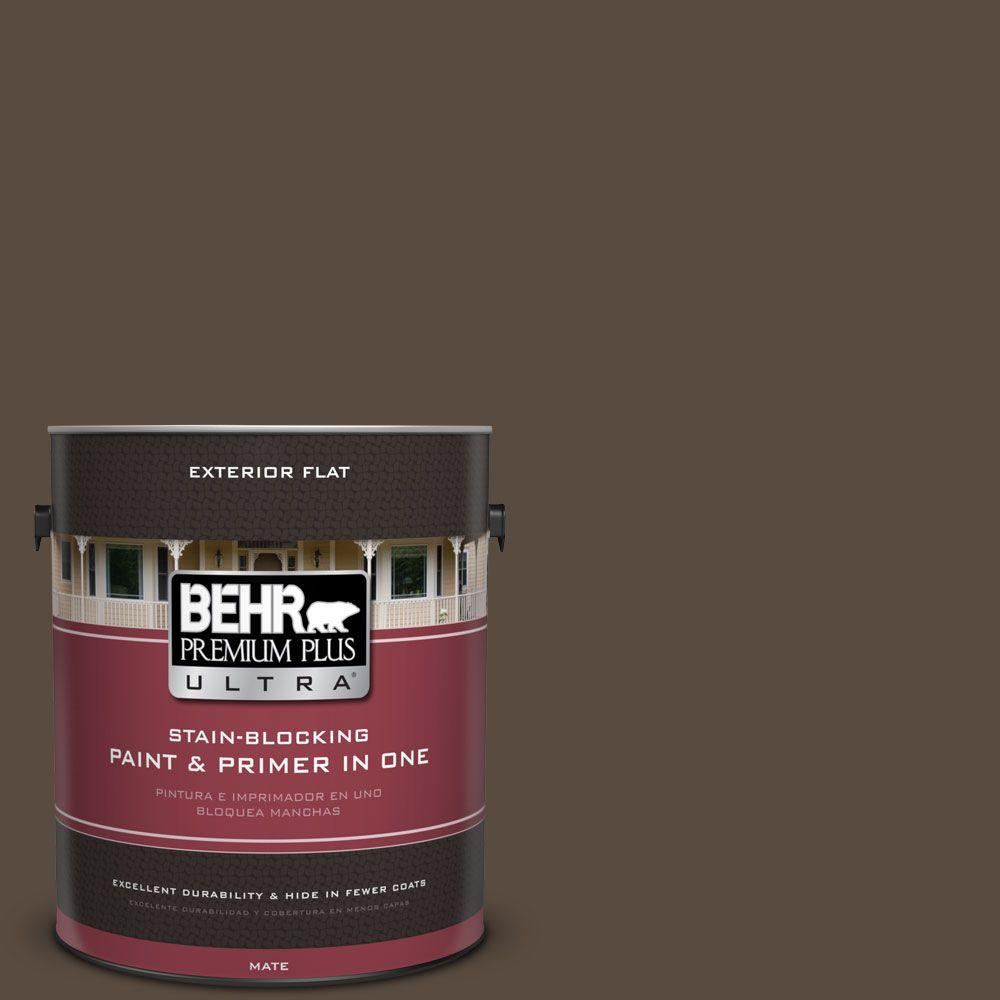 1 gal. #HDC-FL15-05 Warm Pumpernickel Flat Exterior Paint