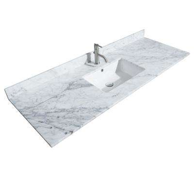 Hatton 60 in. W x 22 in. D Marble Single Basin Vanity Top in White with White Basin