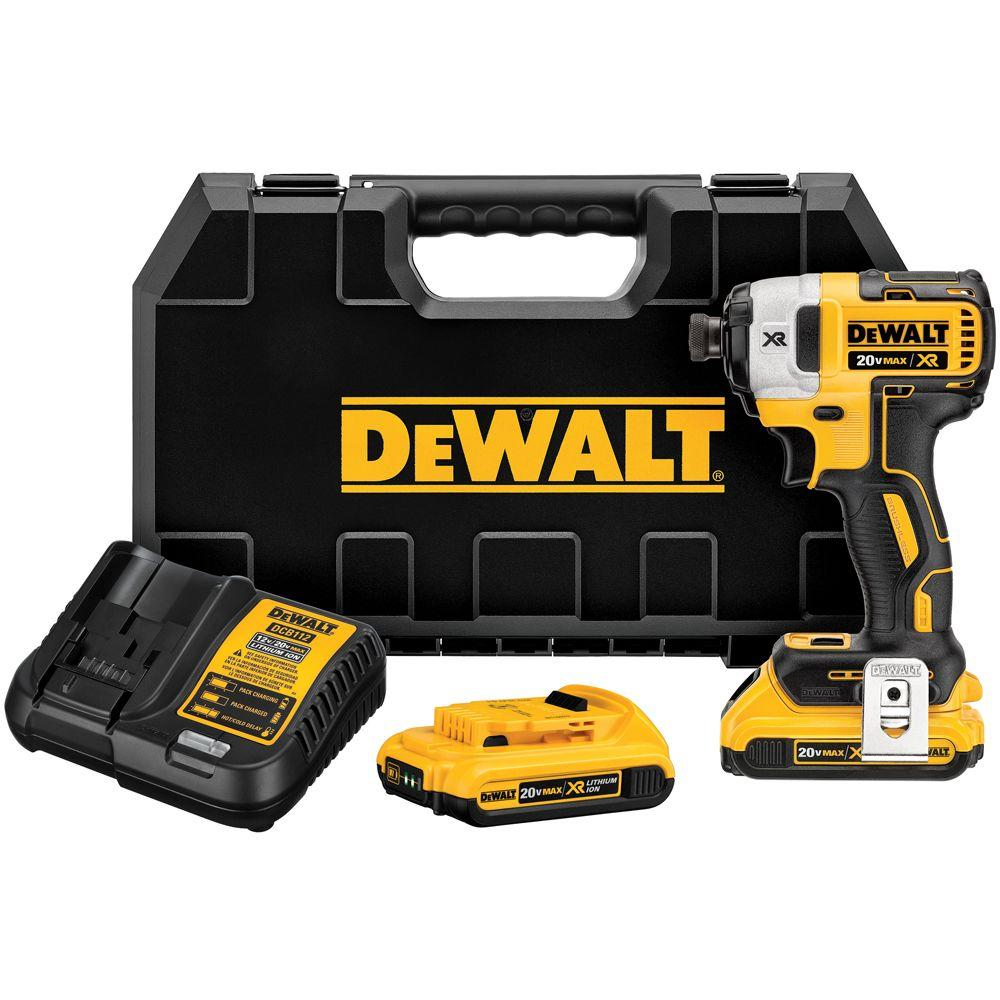 20-Volt MAX Lithium-Ion Cordless Brushless 1/4 in. 3-Speed Impact Driver with (2) Batteries 2.0Ah, Charger and Hard Case