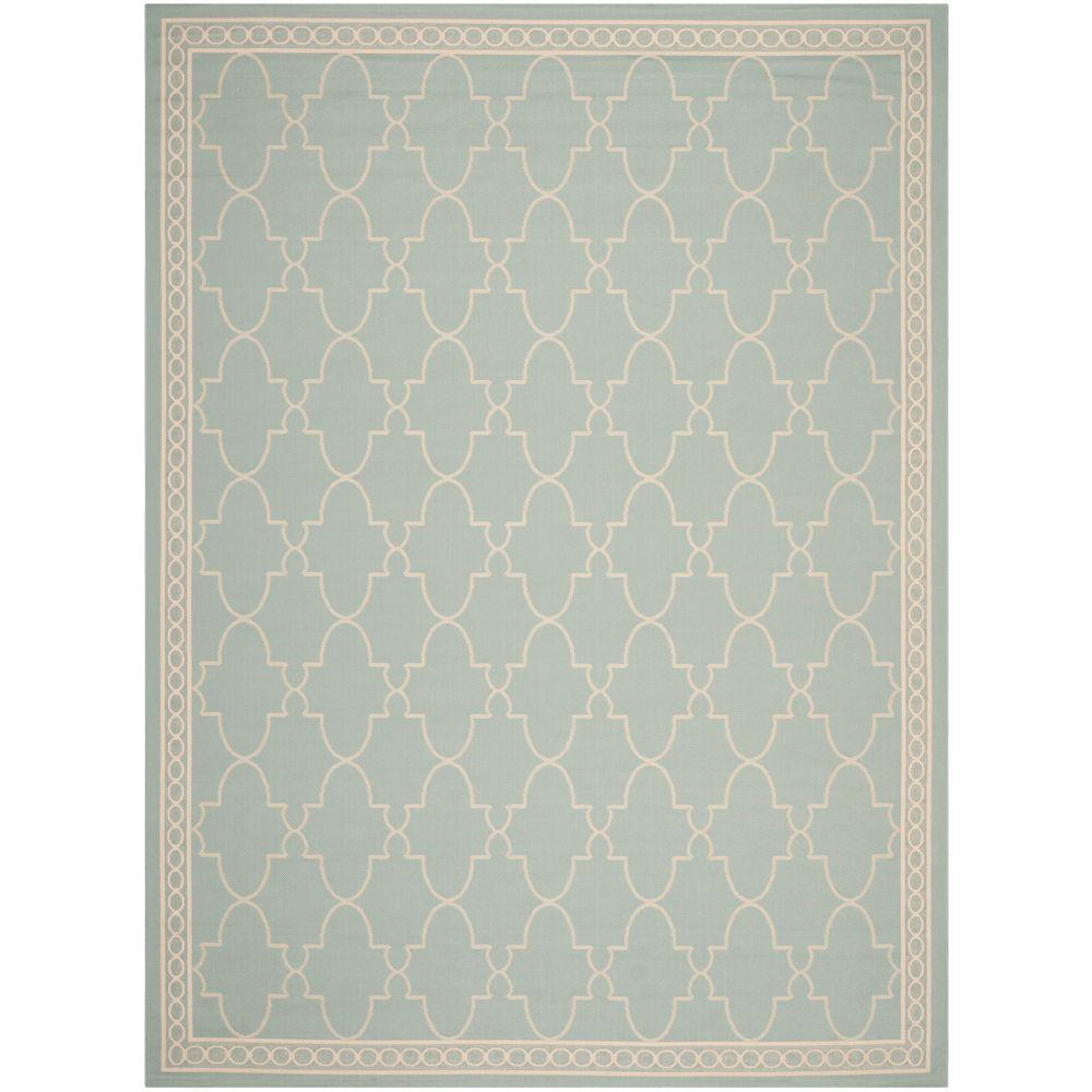 Safavieh Courtyard Aqua/Beige 8 Ft. X 11 Ft. Indoor